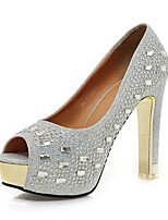 Women's Shoes Glitter / Customized Materials Stiletto Heel Heels / Peep Toe Sandals Wedding / Party & Evening