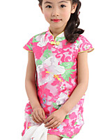 Girl's Floral Dress,Cotton / Polyester Summer Blue / Pink / Yellow