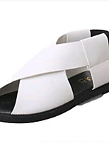 Women's Shoes PU Flat Heel Peep Toe Sandals Outdoor / Dress / Casual Black / White