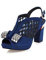 Sexy Women's Shoes Lace Chunky Heel Heels with Bow/Peep Toe/Platform Sandals Party & Evening/Dress Black/Blue
