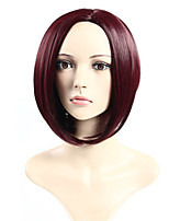 Women's Fashionable Fuxia Color Middle Length Straight Synthetic Wigs