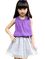 Girl's Cotton Summer New Product Lacework Short Sleeve T-shirt Short Dress Two-piece Clothing Set