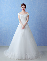A-line Wedding Dress-Ivory Court Train Off-the-shoulder Tulle