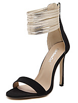 Women's Shoes Microfibre Stiletto Heel Heels Sandals / Heels Party & Evening / Dress / Casual Black / Almond