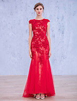 Formal Evening Dress-Ruby Trumpet/Mermaid Jewel Floor-length Lace / Tulle