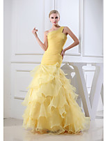 Formal Evening Dress Trumpet / Mermaid One Shoulder Floor-length Organza with Ruching / Side Draping