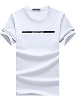 Men's Letter Casual / Sport / Plus Sizes T-Shirt,Cotton Short Sleeve-Black / White