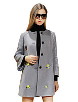Women's Print Gray Coat,Simple Long Sleeve Nylon