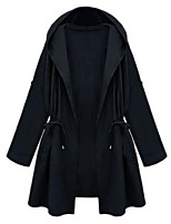 Women's Solid Blue / Green Trench Coat,Plus Size Long Sleeve Polyester