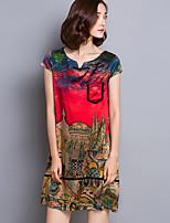 Women's Vintage Print Plus Size / Loose / Shift Dress,V Neck Knee-length Silk / Polyester