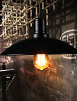 American Loft Retro Pastoral Single Head Black Iron Cover Pendant Light Restaurant Bar Light