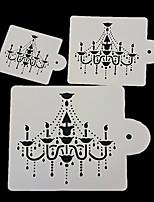 3Pcs Chandelier Cake Stencil Design Fondant Cake Decorating Spray Printing Mold Kitchen Baking Tool