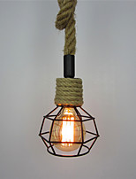 Retro Creative DIY hemp rope Pendant Lights Wrought Iron Birdcage Shade Dining Room the cafe bar counter light Fixture