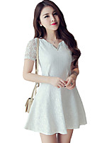 Women's Cute Solid A Line Dress,V Neck Mini Polyester