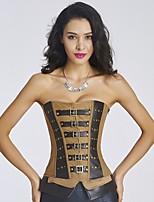 YUIYE® Women Cool Black Brown Punk Corset Bustier Overbust Lingerie Sexy Lingerie Corset Waist Cincher Plus Size