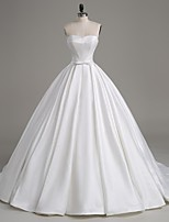 Lanting Bride A-line Wedding Dress-Court Train Strapless Satin