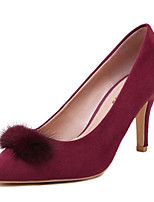 Women's Shoes Fleece Stiletto Heel Heels Heels Party & Evening Black / Burgundy