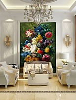 Modern 3D Shinny Leather Effect Large Mural Wallpaper Flowers Oil Painting Art Wall Decor for Living Room