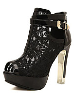 Women's Shoes Microfibre Stiletto Heel Heels / Peep Toe Sandals Casual Black / White