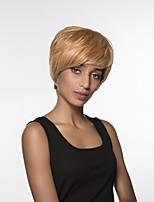 confortable courte ligne droite main remy de cheveux attachés perruque top femme