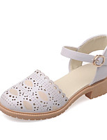 Women's Shoes Leatherette Low Heel Comfort Heels Wedding / Party & Evening / Dress / Casual Pink / White / Gray