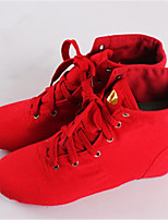 Non Customizable Women's Dance Shoes Jazz Leather Low Heel Red