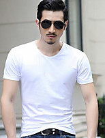 Men's Fashion All Match Slim Short Sleeve T-Shirt, Round Neck Casual Solid