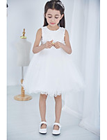 Ball Gown Knee-length Flower Girl Dress - Tulle / Polyester Sleeveless Jewel with