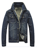 Men's Long Sleeve jeans Jacket,Cotton / Polyester Casual Solid k192