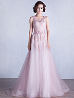 Formal Evening Dress A-line Jewel Sweep / Brush Train Lace / Tulle withAppliques / Beading / Flower(s) / Sash / Ribbon / Criss Cross /