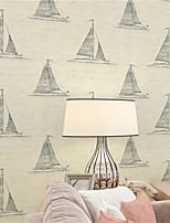 JAMMORY Art Deco Wallpaper Contemporary Wall Covering,Non-woven Paper Cartoon Sailboat Mediterranean