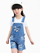 Girl's Blue Overall & Jumpsuit,Bow Cotton Summer