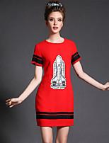 Plus Size Women Fashion Vintage Color Block Print Short Sleeve Slim Party/Daily Dress
