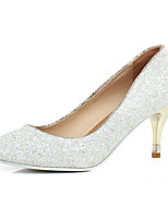 Women's Shoes Leatherette Stiletto Heel Heels Heels Wedding / Office & Career / Dress White / Gold