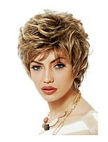 femmes court bouclés cheveux synthétiques perruque blonde