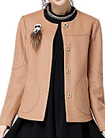Women's Solid Brown Pea Coats,Simple Long Sleeve Wool