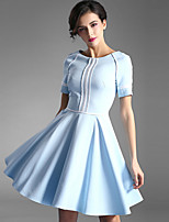 Baoyan® Women's Round Neck Short Sleeve Above Knee Dress-150511