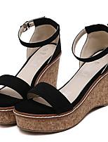 Women's Shoes Fleece Summer Wedges / Heels Outdoor / Casual Wedge Heel Buckle Black / Gray