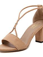 Women's Shoes Fleece Chunky Heel Open Toe Sandals Party & Evening / Dress Black / Almond