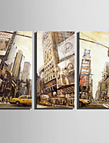 E-HOME® Stretched Canvas Art A Busy City Street Decoration Painting  Set of 3