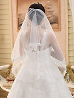 Wedding Veil One-tier Elbow Veils Cut Edge / Lace Applique Edge Tulle Beige