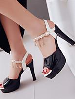 Zapatos de mujer-Tacón Robusto-Punta Abierta / Plataforma-Sandalias-Vestido / Casual / Fiesta y Noche-Cuero Patentado-Negro / Rosa /