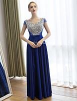 Cocktail Party / Formal Evening Dress-Royal Blue Sheath/Column V-neck Floor-length Satin / Tulle