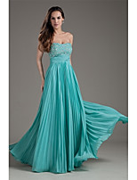 Formal Evening Dress-Pool A-line Strapless Floor-length Chiffon