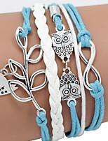 Men's Blue Love Bird/Owl  Braided/Cord Leather Handmade Multilayer Charm Bracelet Unisex