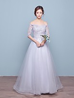 Formal Evening Dress-Silver A-line Off-the-shoulder Floor-length Lace / Tulle