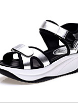 Women's Shoes Synthetic Platform Peep Toe /Creepers Sandals Office & Career/ Party & Evening/Dress/Casual Black/Silver