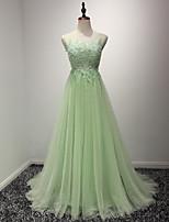 Cocktail / Serata formale Vestito Linea-A Con decorazione gioiello Lungo Organza con Con applique