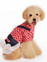 Dog Dress / Shirt / Clothes/Clothing Red / Yellow Summer Polka Dots / Bowknot Fashion-Lovoyager