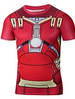 Print-Informeel-Heren-Polyester-T-shirt-Korte mouw Rood